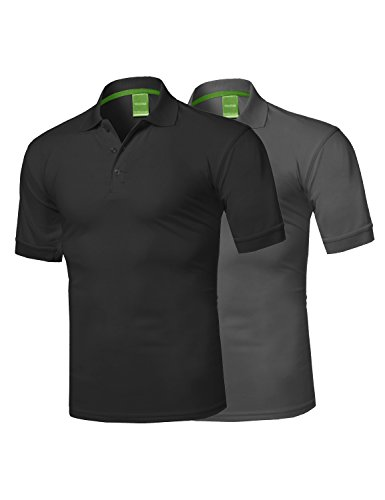 Youstar Solid Dri-Fit Active Athletic Golf Short Sleeves Polo Shirt Black/Charcoal 1XL
