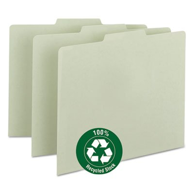 Green Recycled Tab File Guides, Blank, 1/3 Tab, Pressboard, Letter, 100/Box, Total 500 EA by Smead
