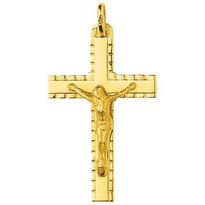 So Chic Bijoux © Pendentif Croix Christ Jésus Crucifix Fil Carré Bords Stylisés Or Jaune 750/000 (18 carats)
