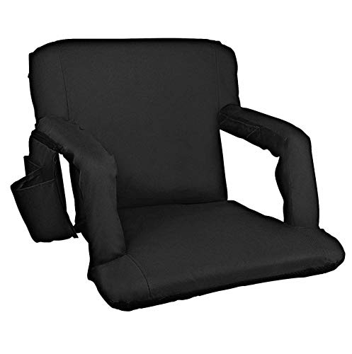Alpcour Folding Stadium Seat - Deluxe Reclining Waterproof Cushion Chair for Bleachers w/Arm Rests, 3 Storage Pockets, Backpack Straps & Thick Back w/Extra Padding for Superior Support & Comfort