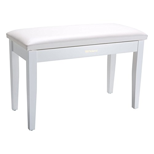 Roland RPB-D100WH | Duet Size Piano Bench Satin White with Storage Compartment (Bench Satin)