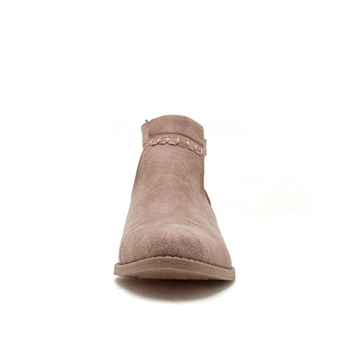 Open Cut Taupe Side Bootie Distress Boots Warm Buckled Ankle Out Qupid ShopglamLA qg1yA1E