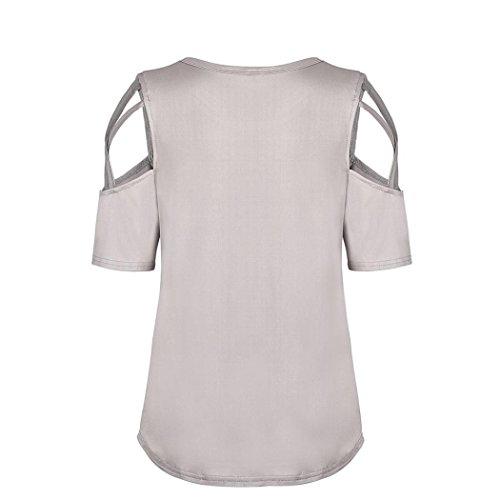 Camicetta Cerniera Corta Donna Sale Beige Abbigliamento Moda Canottiera shirt Da Estate Manica Hot Grossa Taglia Top Oyedens Maglietta Casual T nA7Sw86
