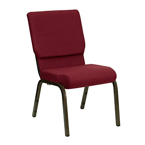 "18.5""W Stacking Church Chair in Burgundy Fabric – Gold Vein Frame"