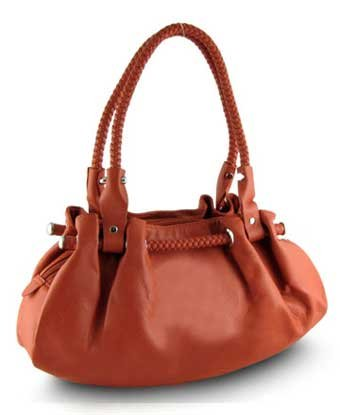 Women's synthetic leather tote shoulder bag with multiple compartments and double handles-orange, Bags Central