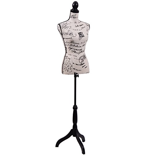 JAXPETY Female Mannequin Torso Clothing Display W/Black Tripod Stand New (Printing) (Dress Torso Form)