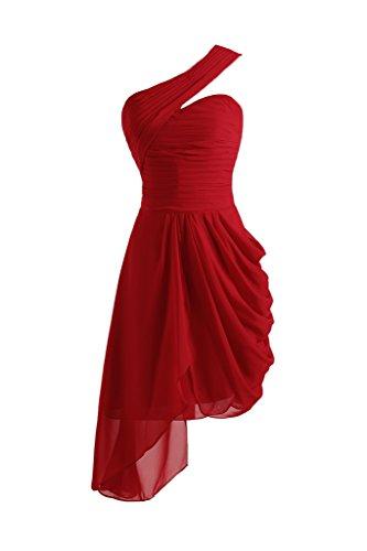 Toscana novia preferido One-Shoulder por la noche vestidos de gasa vestido corto fiesta De