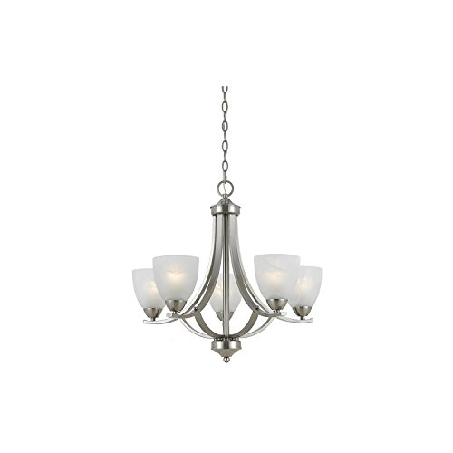 Lumenno Lighting 8001-03-05 Chandelier with White Swirl Alabaster Glass Shades, Satin Nickel Finish