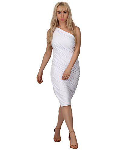 HDE Women's One Shoulder Midi Cocktail Dress (White, Medium)]()