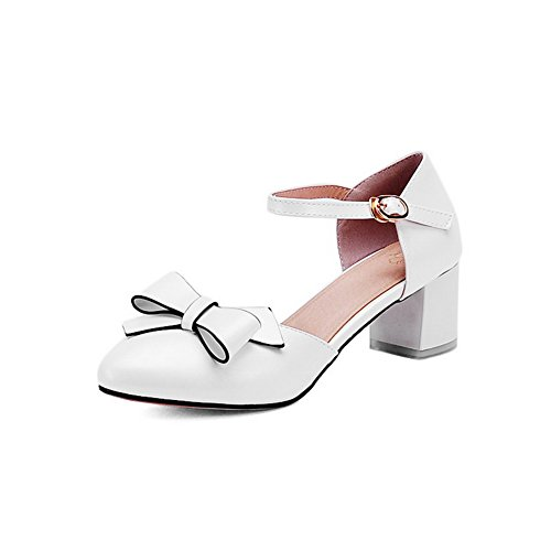 BalaMasa Womens Toggle Novelty Baguette-Style Leather Sandals ASL05110 White