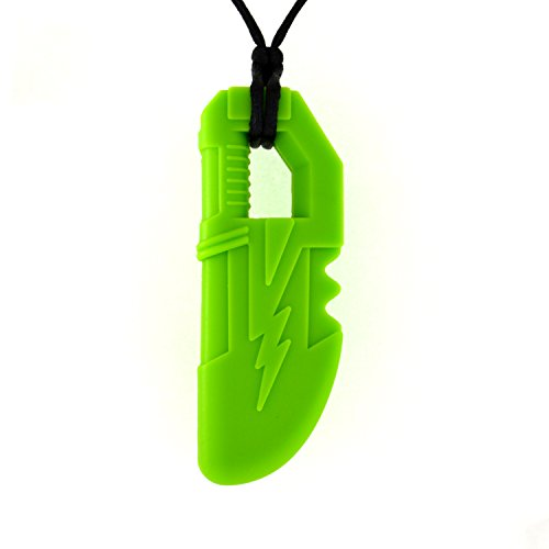 Quell-O Thunder Blade Sensory Chew Necklace - Tough - Large Chewelry for Mild Chewing (Green)