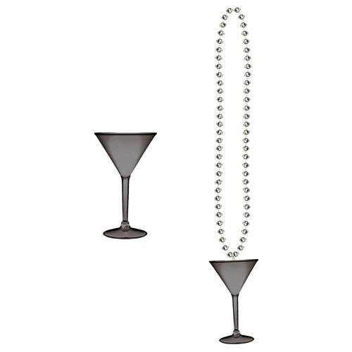 [Beads w/Martini Glass (black & silver) Party Accessory  (1 count) (1/Card)] (Martini Costume Halloween)