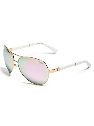 GUESS Factory Faux Leather Aviator Sunglasses