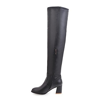 4in Leatherette Black White Zipper Winter Gll Casual Boots Chunky 2 2in amp;xuezi 3 Women's Boots Fashion Heel Black Fall Dress 606UFBqR
