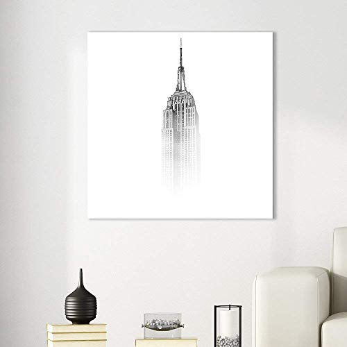 "BABE MAPS 12""x12"" Canvas Prints Square Canvas Painting Wall Art The Empire State Building Among The Mist Prints on Canvas Stretched and Framed for Home Office Decor"