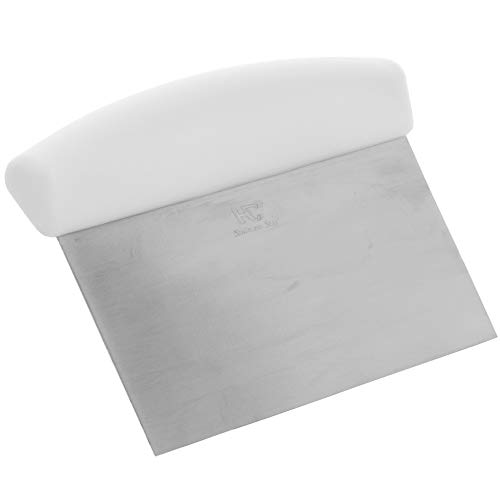 Bench Scraper with White Handle by Tezzorio, 6 x 4-Inch Stainless Steel Dough Scraper / Pastry Scraper and Cutter