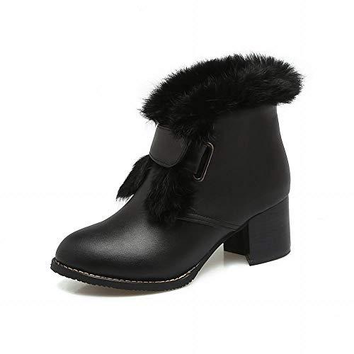 Wsr 38 Mujeres Para negro Nieve Zapatos Botas Tacón Mujer Antideslizantes Otoño E De Algodón Invierno Cálidos Mujeres Botines Alto UrqBwUaxC