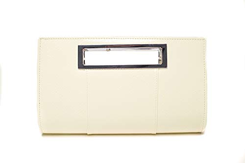 Ilishop Women's Classic Crocodile Pattern Faux Leather Metal Grip Clutch (Creamy)