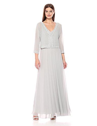 J Kara Women's Jacket Dress with Beaded Trim, Silver/White/Silver, 10 - Evening Jacket Dresses