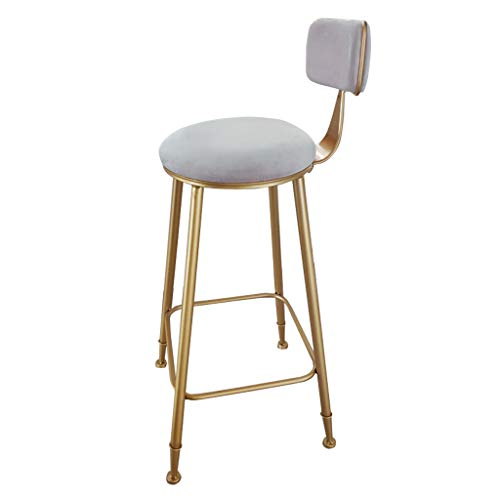 High Stool Velvet Upholstered Bar Stools with Back Rest Counter Height Barstools with Gold Legs, Metal/Iron Finish High Chair, Gray Dining ()