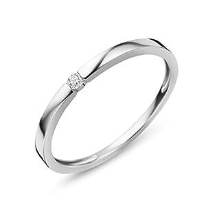 Orovi Anillo solitario de oro blanco de 9 quilates (375) y diamante de 0,03 quilates Orovi Anillo solitario de oro blanco de 9 quilates (375) y diamante de 0,03 quilates Orovi Anillo solitario de oro blanco de 9 quilates (375) y diamante de 0,03 quilates
