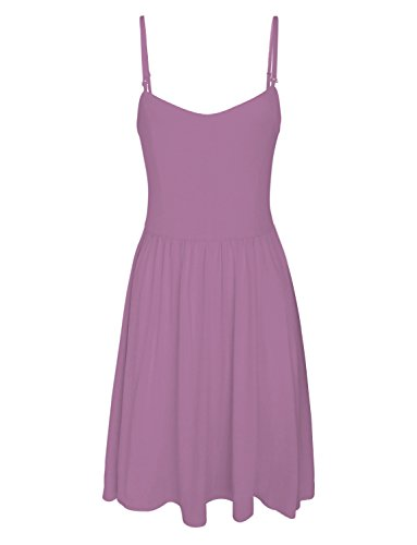 (TAM WARE Women Stylish Removable Shoulder Strap Skater Dress TWCWD088-PURPLE-US L)