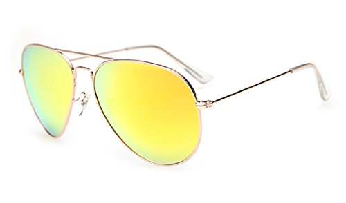 Laura Fairy 100% Uv Protection Mirrored Unisex Aviator Sunglasses - Aviators Yellow Mirrored
