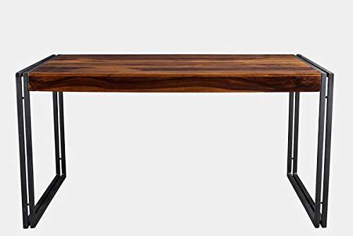 Iron Square Base Dining Table - Dining Table with Rectangular Mango Wood Top - Sheesham