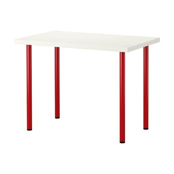 New Ikea Computer Desk Table Multi Use White With Red Legs