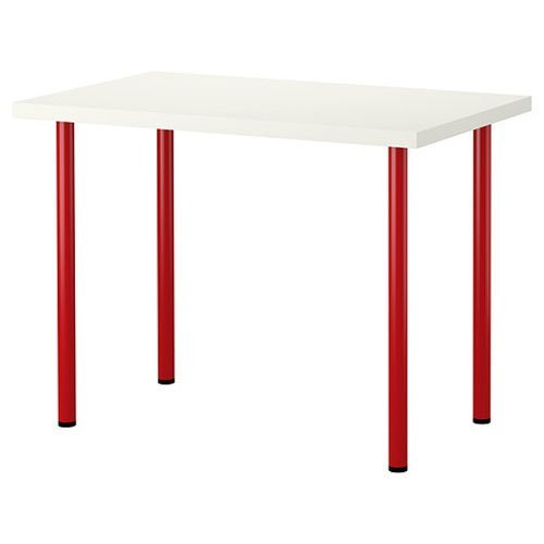 New Ikea Computer Desk Table Multi-use White with Red Legs