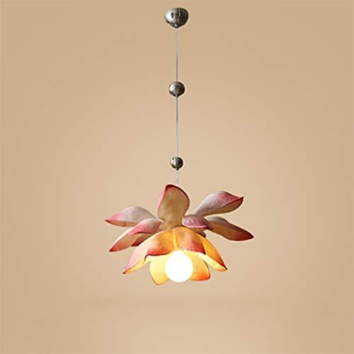 (Modern Pendant Light Chinese Style Lotus Flower Ceiling Light Resin Material Decorative Pendant Lamp for Living Room, Bedroom,Aisle,Corridor,Tea Room,Pink)