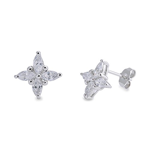 Studs Jewelry Spinning (.925 Sterling Silver Spinning Star Cubic Zirconia Stud Earrings)