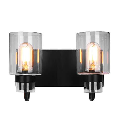 Contemporary 2-Light Vanity Light Fixture Modern Clear Glass Shades Lighting Black Dining Room Lighting Fixtures (2-Light) ()