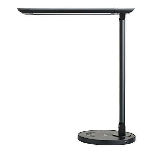 TaoTronics LED Desk Lamp Eye-caring Table Lamps, Dimmable Office Lamp with USB Charging Port, Touch Control, 5 Color Modes, Black, 12W (Usb Led Lamp Light)