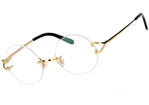 Agstum Pure Titanium Round Prescription Rimless Eyeglasses Frame 49mm (Gold