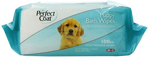 Perfect Coat Moisturizing Bath Moist Cloth Wipes for Dogs 100-Count Baby Powder Scent