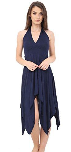 Momo & Ayat Mode Femme Jersey Léger Halterneck Ourlet Hanky robe Midi Taille Aus 8-26 Marine