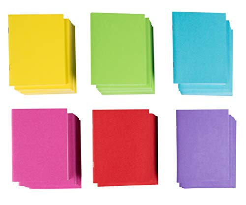 Blank Book - 48-Pack Colorful Notebooks, Unlined Plain Travel Journals for Students, Kids Diaries, Creative Writing Projects, 6 Assorted Colors, 4.25 x 5.5 Inches, 24 Sheets