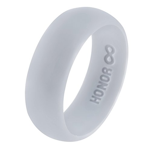 Silicone Wedding Ring HonorGear, Premium Medical Grade Wedding-Bands Active Men, Athletes, Comfortable Fit & Skin Safe, Non-Toxic, Antibacterial (Silver Snow, ()