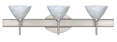 Besa Lighting 3SW-174352-SN 3X40W G9 Domi Wall Sconce with Marble Glass, Satin Nickel Finish - Domi Three Light