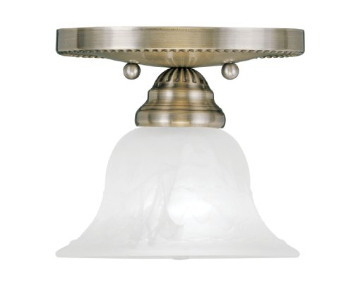 Livex Lighting 1530-01 Edgemont 1-Light Ceiling Mount, Antique Brass (Antique Brass Bathroom Light Fixtures)