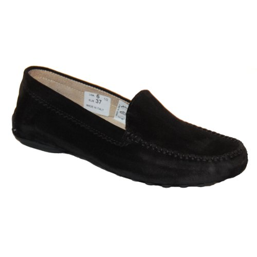Suede Flats French Sole (French Sole FS/NY Women's Stella, Black Suede, 9 M US)