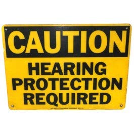 Warning Hearing Protection - Vintage W.H. Brady Fiber-Shield Hearing Protection Required Warning Sign