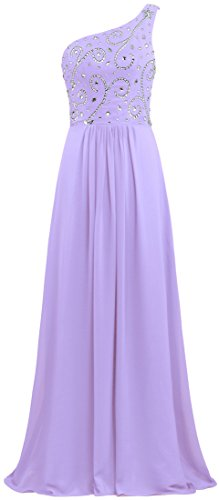 Women's ANTS Chiffon Dresses Shoulder Lavender Prom Gown Bead Long One vq1qwgx