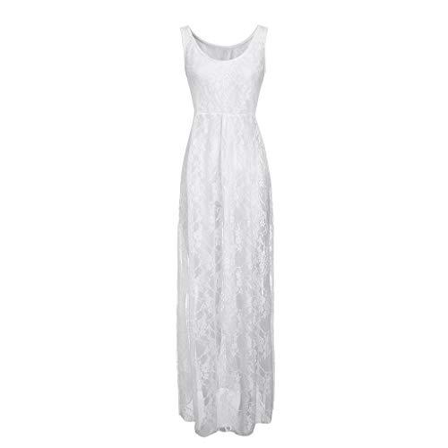 Kulywon Women V-Neck Pure Color Lace Bandage Sandy Beach Bikini Smock Long Dress White