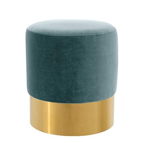 DEEP Turquoise Stool | EICHHOLTZ Pall MALL | Round upholstered Velvet Ottoman Accent Stool | Modern Luxury ()