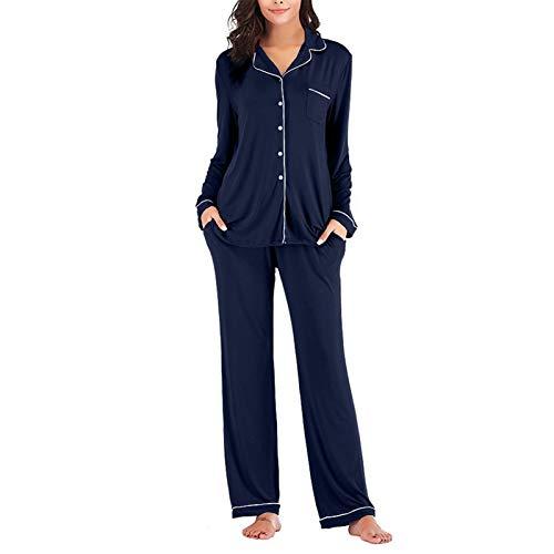 Women's Long Sleeve Pajamas Set 2 Piece Nightwear Sleepwear Button Down Soft Pjs Blue L