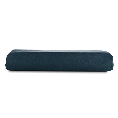 European Made Pure Linen Flat Sheet. 100% Fine Organic and Natural Flax (Midnight Blue, Twin)