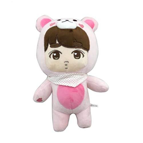 Coiny Bebe Korea New Kpop EXO Plush Doll Toys Stuffed Dolls Handmade Cartoon Chan Yeol Se Hun Su Ho D.O Xiumin Dolls Gift Girl DO Pink Bear