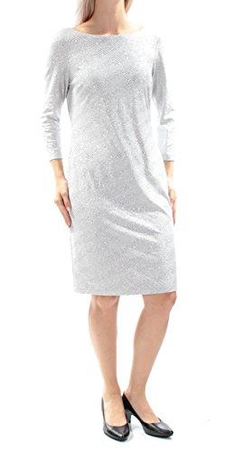 Calvin Klein Women's 3/4 Sleeve Round Neck Shimmery Jersey Shift Dress, Pumice, 4